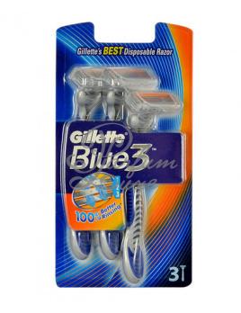 Gillette - Blue3 Férfi dekoratív kozmetikum 3db Eldobható borotva Borotválkozási készítmény 1db