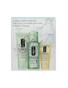 Clinique - 3step Skin Care System1 Női dekoratív kozmetikum Set (Ajándék szett) 50ml Extra lágy folyékony arcszappan + 100ml Tisztító arcápoló 1 + 30ml DDML