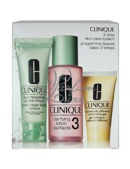 Clinique - 3step Skin Care System3 Női dekoratív kozmetikum Set (Ajándék szett) 50ml Folyékony arcszappan zsíros bőrre Skin + 100ml Tisztító arcápoló 3 + 30ml DDMGel, Kombinált és Zsíros arcbőr